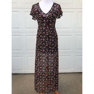 Black Floral V-neck long Dress